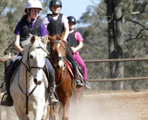 3 girls on horses during a riding school lesson