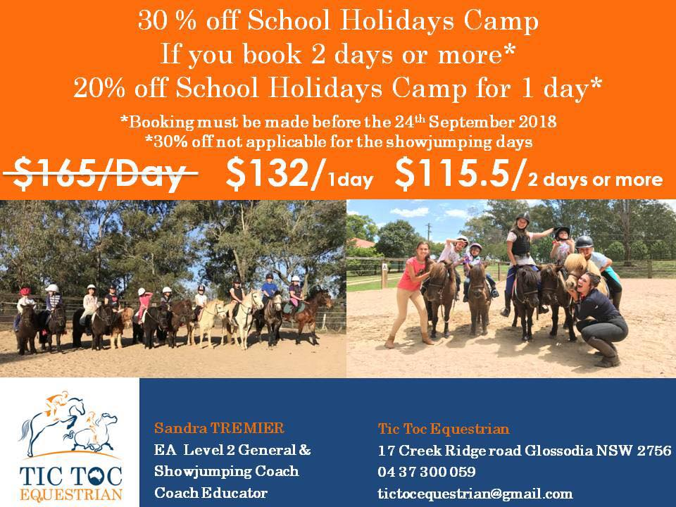 Up to 30% off the school holidays riding camp* Join the Tic Toc Equestrian team - Up to 30 off the school holidays riding camp image