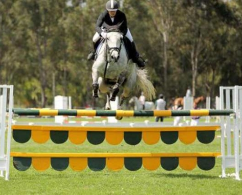 Sandra riding at a showjumping competition