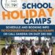 School holiday camps... the program is on the website.  Bookings are open