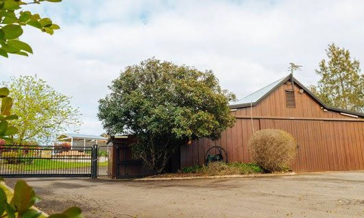 View of the barn from outside