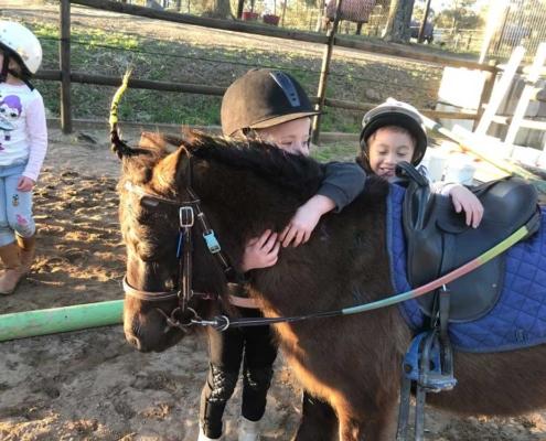 Children enjoying birthday cuddles with a pony